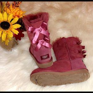 UGG Burgundy Short Bailey Bow Boots
